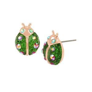 Betsey Johnson ladybug green stud earrings